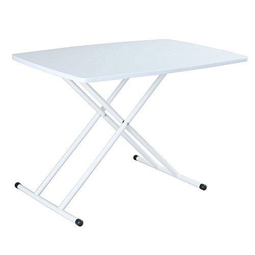 日本インテリア 木製 昇降式 リフティングテーブル 5段階昇降 ダイニング テーブル ホワイト