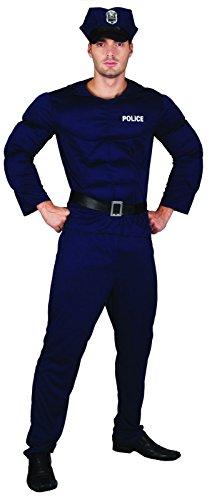 Lachen und Confetti-fibpol003-Kostüm für Erwachsene-Kostüm Polizist Musculus Luxe-Herren-Größe L
