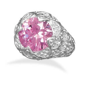 Pink CZ Fashion Ring With Swirl Design Band Silver Plated Nickel Free And Lead Free - Size 7