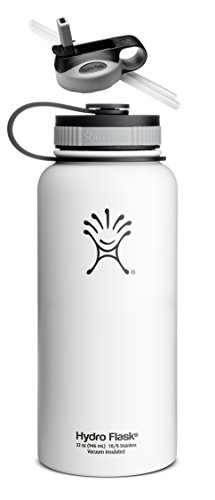 Hydro Flask Insulated Wide Mouth Stainless Steel 32-Ounce Water Bottle,32 Oz,Arctic Snow White W/Straw Lid front-468654