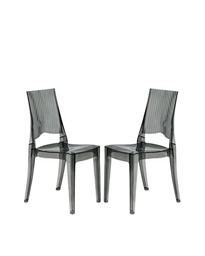 LeisureMod Set of 2 Delco Dining Modern Chairs, Transparent Black