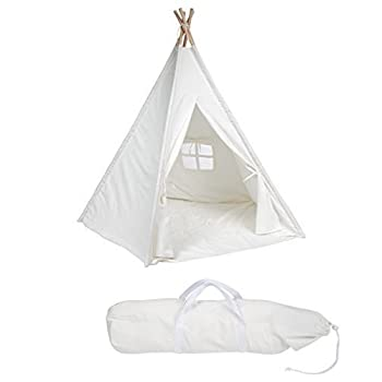 6 Large Canvas Teepee With Carry Case - Customizable Canvas Fabric - By Trademark Innovations (White)