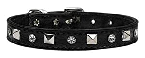 Mirage Pet Products Just The Basics Crystal and Pyramid Dog Collars, 16-Inch, Black