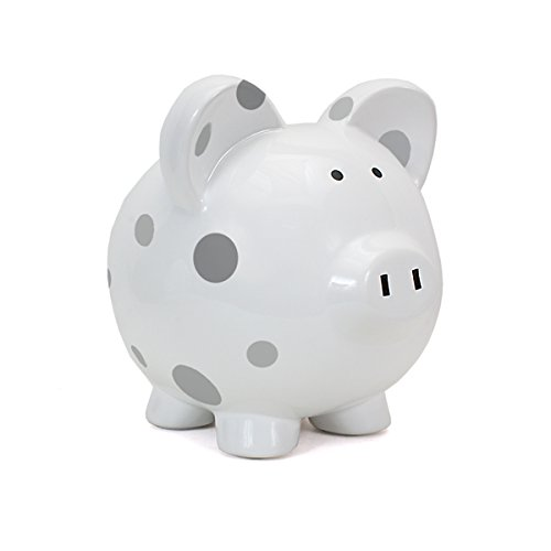 Child to Cherish Large Pig White with Polka Dot Toy Bank, Grey - 1