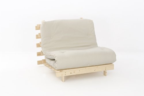 3ft (90cm) Single Wooden Futon with NATURAL Mattress