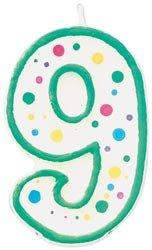 "Bulk Buy: Wilton Polka Dot Numeral Candle 3""X1.5"" 1/Pkg-#9 Green (6-Pack)"
