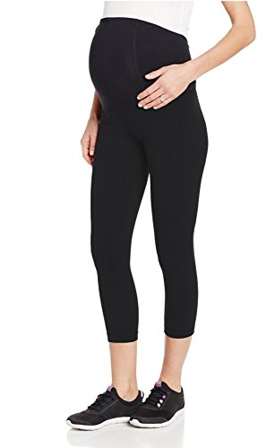 Cloya Women's Maternity Active Capri Pant (L, Black)