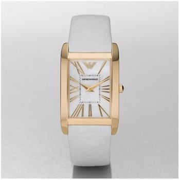 Emporio Armani Women's Watch White Leather Band, Gold Trim & Pearl Face
