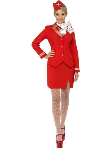 Trolley Dolly 80s Air Stewardess Hostess Cabin Crew Fancy Dress Costume UK 8-20