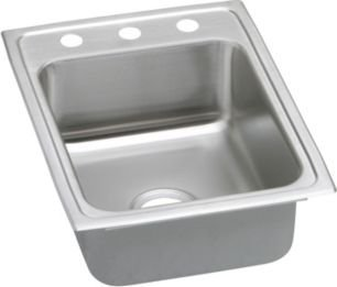 "Elkay PSR1722X 20 Gauge Stainless Steel Single Bowl Top Mount Kitchen Sink with Brilliant Satin, 17"" x 22"" x 7.125"""