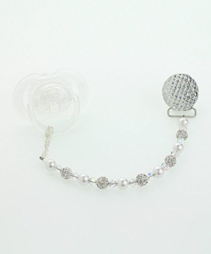 Clear Swarovski Crystals, White Pave Beads and White Pearl Pacifier Clip (CQSW)