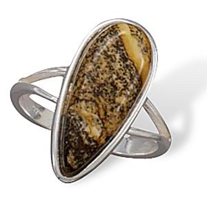 Sterling Silver Picture Jasper Ring - Size 8