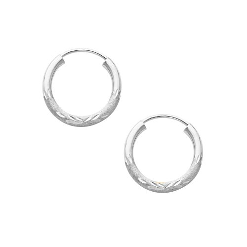 14K White Gold 2mm Thickness Diamond Cut Satin/High Polished Elegant Endless Hoop Earrings (0.6