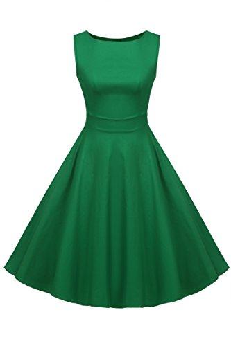 ACEVOG Vintage Sleeveless Ruched Waist Classy V-Neck Casual Cocktail Dress