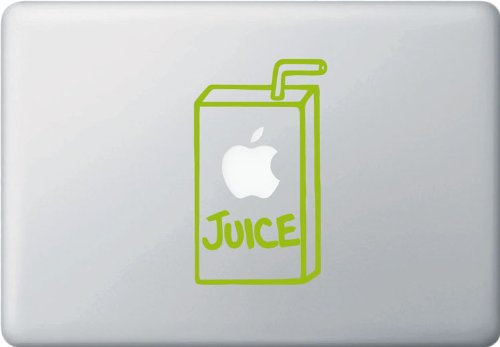 Apple Juice Box Graphic - Macbook Or Laptop Vinyl Sticker Decal (3.5In Width X 5.75In Height) (Lime Green) front-234768