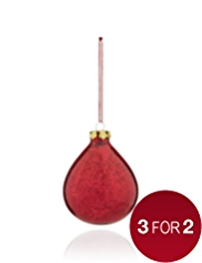 Acid Wash Glass Teardrop Christmas Tree Decoration
