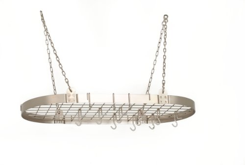 Old Dutch 122SN Oval Pot Rack with 12 Hooks, 36 by 18-Inch, Satin Nickel