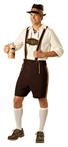 InCharacter Costumes, LLC Men's Bavarian Guy Costume with Pullover Shirt, Brown/Tan, Large