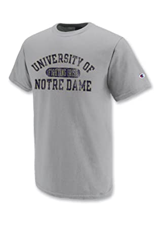 Champion NCAA Unisex Adult Notre Dame Fighting Irish Jersey Tee Shirt (Grey, Small)