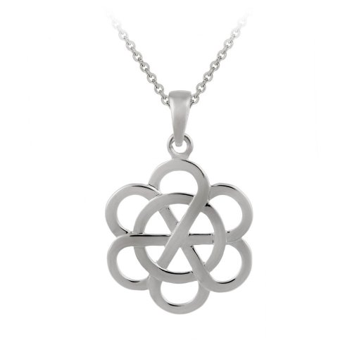 Sterling Silver Pinwheel Flower Pendant Necklace , 18