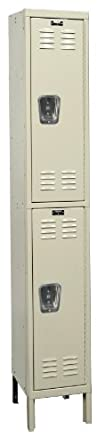 "Hallowell U1228-2PT Parchment Steel Premium Wardrobe Locker, 1 Wide with 2 Opening, 2 Tier, 12"" Width x 78"" Height x 12"" Depth, Knock Down"