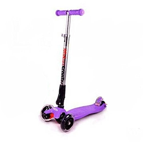 Generic Portable 3 Wheel Folding Flashing Scooter With LED Light Up, Birthday Gift For Kids,Purple