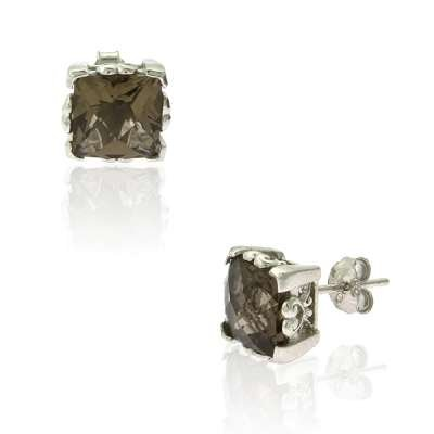 Classic Fashion Sterling Silver Designed Earrings with Large Square Smokey Topaz Gemstone(WoW !With Purchase Over $50 Receive A Marcrame Bracelet Free)