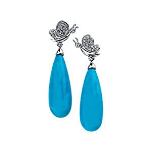 IceCarats Designer Jewelry 14K White Gold Genuine Turquoise Briolette And Diamond Earring. Pair 1/6 Ct Tw