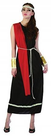 Adult Lady Black Greek Roman Goddess Toga Dress Robe Fancy Party Costume