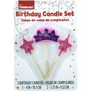 Way to Celebrate Princess Stick Birthday Candles, 3-Pack - 1