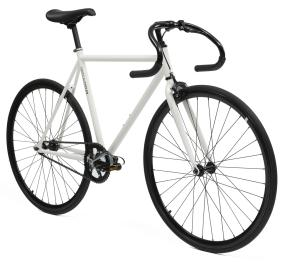 Critical Cycles White Frame & Black Wheels Fixie (Single-Speed Fixed-Gear Urban Commuter Bicycles)