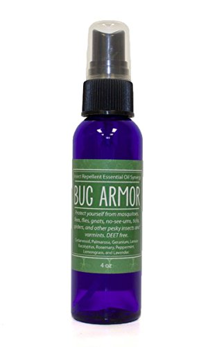BUG ARMOR DEET-Free Natural Insect Repellent (4 Oz) Cedarwood, Palmarosa, Geranium, Lemon Eucalyptus, Rosemary, Peppermint, Lemongrass, and Lavender Essential Oils.