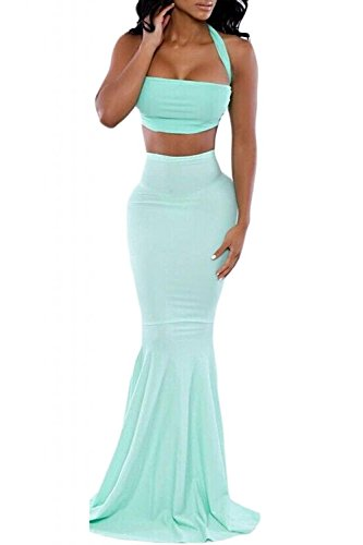 L04BABY Women's Halter Crop Top With Mermaid Maxi Skirt