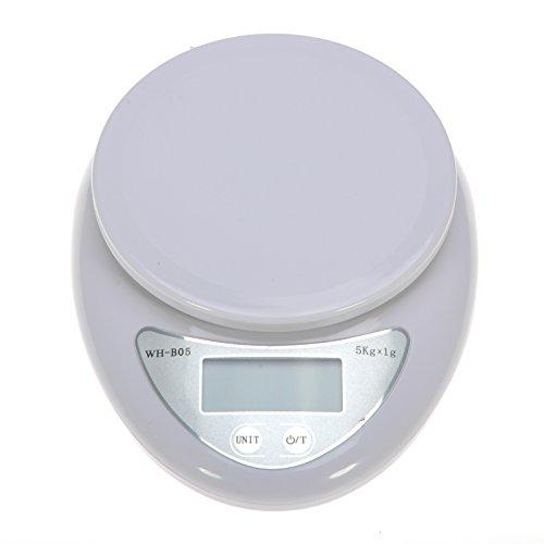 GIZGA® Balance Électronique pour Cuisine Affichage LCD 5kg Pèsage Courrier Balance de Précision - Blanc