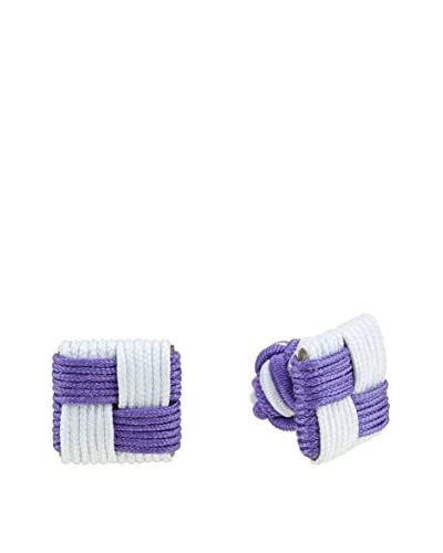 Ortiz & Reed Gemelos Multi-Color Knots Cufflinks Blanco / Morado