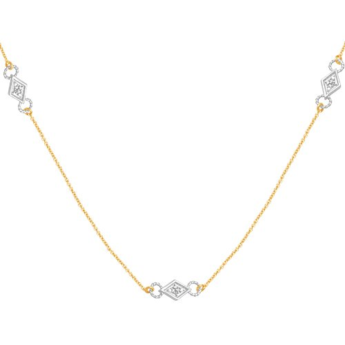 10k Two-Tone Gold Diamond Chain w/ White Component Necklace (1/10 cttw, I-J Color, I3 Clarity), 18