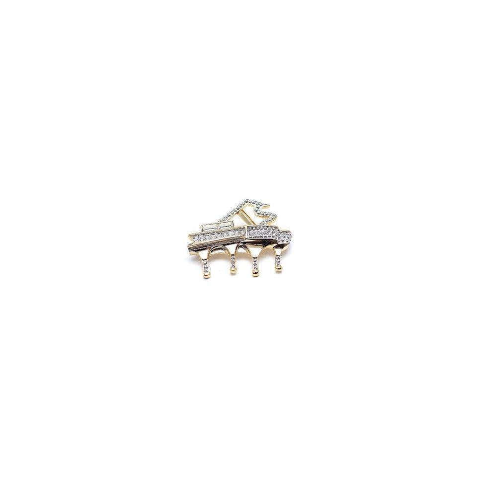 Clear Austrian Rhinestone Gold Tone Piano Brooch Pin