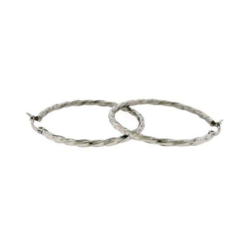 Ladies Stainless Steel Silver Tone Hoop Huggies Earrings