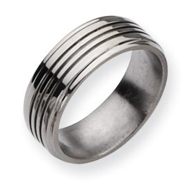 Titanium Grooved 8mm Polished Band Ring - Size 11 - JewelryWeb