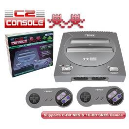 New C2 Nes/Snes Tomee System Silver Supports 8-Bit Nes And 16-Bit Snes Games Easy Function Switch front-294407