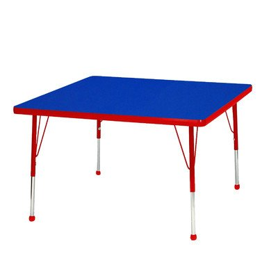 """Creative Colors B30Sqrd-Sb Activity Table, Ball Glides, Standard Height, 30"""" Square, Blue Top, Red Edge front-984456"""