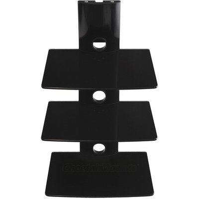 Cheetah Mounts A32B 3 Tier Electronic Component Glass Shelf Wall Mount Bracket with Cable Management System