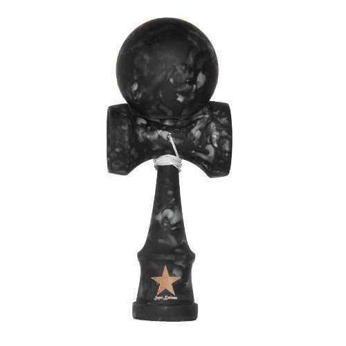 Full Marble Black Rubberized Super Kendama, Super Sticky, Japanese Wooden Toy, Free String, USA Seller
