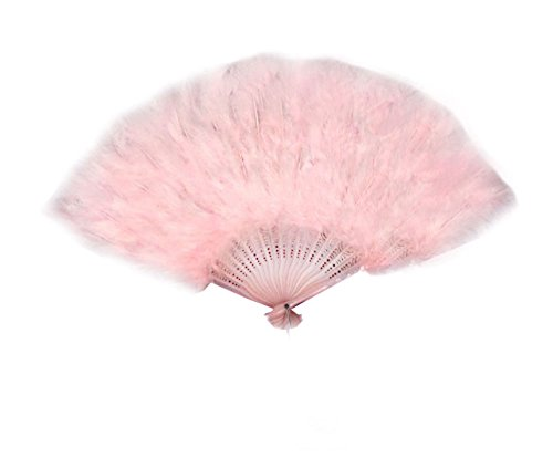 SACAS Large Baby Pink Feather Hand Fan New for costume, halloween, party