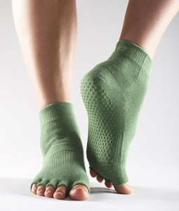 ToeSox Half Toe Barre Socks With Grips, Grass Green, Small