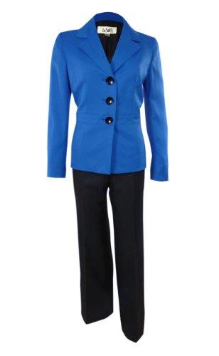 Women'S Multi Color Business Suit Jacket & Pant Set (6, Sapphire/Black)