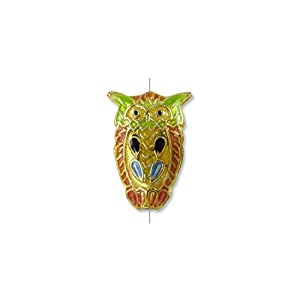 Cloisonne Owl Bead 23x16mm Orange/Green/Gold (Package of 1 Bead)