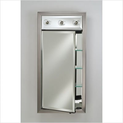 recessed single door medicine cabinet with contemporary lights. Black Bedroom Furniture Sets. Home Design Ideas