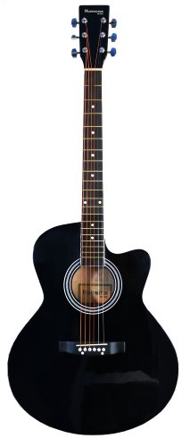 Full Size Round Body Black Handcrafted Steel String Acoustic Guitar & Directlycheap(Tm) Translucent Blue Medium Guitar Pick (Pro-J Series)