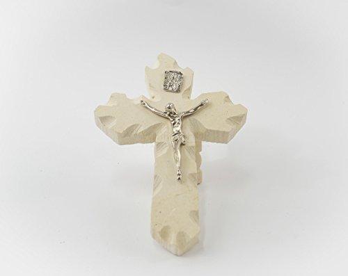 """""""Crocefisso Medio-Piccolo color argento"""" scultura artigianale in pietra leccese realizzato a mano dai maestri d'arte leccesi nelle misure 14 x 10 cm"""